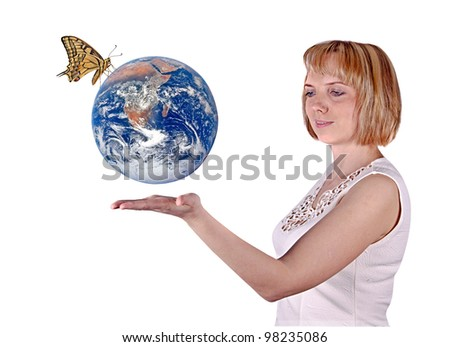Butterfly sitting on Earth.Elements of this image furnished by NASA - stock photo