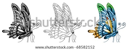 Butterfly tattoo - stock photo