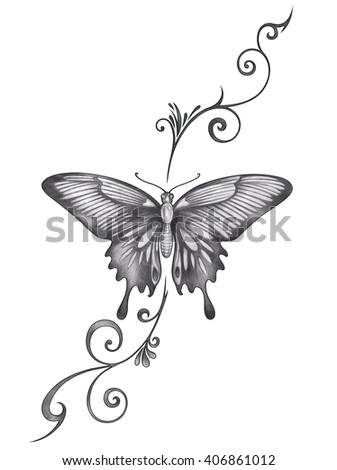 Butterfly tattoo hand pencil drawing on paper