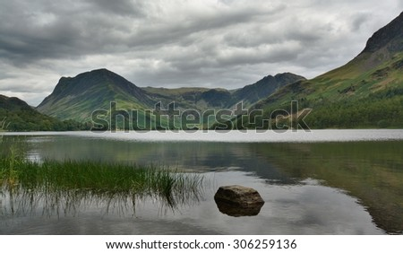 Buttermere on a calm day, Lake District Cumbria. - stock photo