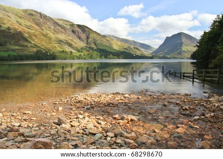 Buttermere reflections, Lake District - stock photo