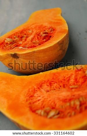 butternut squash cut in half - stock photo
