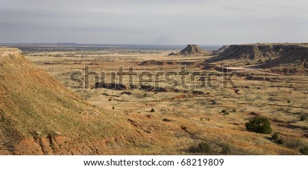 buttes and mesas in the northwest corner of Oklahoma - stock photo