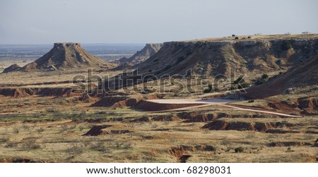 buttes in a remote region of northwest Oklahoma - stock photo