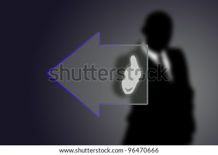 Button arrow with Businessman - stock photo