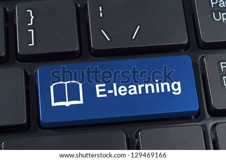 Button e-learning with icon book. Concept internet learning and education. - stock photo