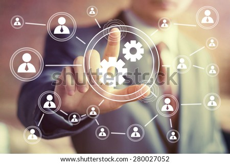 Button engineering business web communication - stock photo