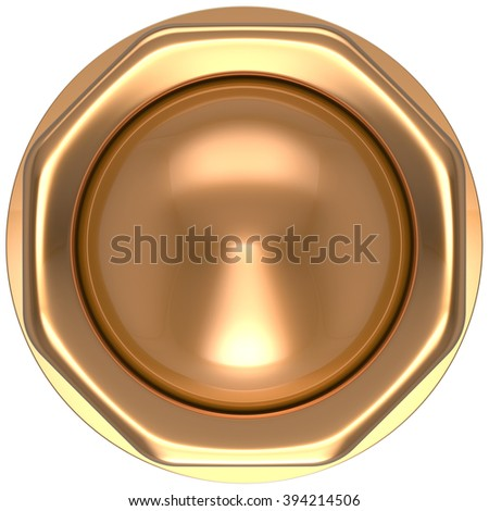 Button gold casino luck game win start turn off on action push down activate ignition power switch electric design element metallic shiny blank golden yellow luxury. 3d render isolated - stock photo