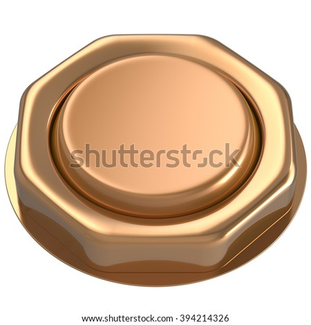 Button golden luck casino power switch push down activate start turn on off action ignition electric design element metallic shiny blank gold yellow. 3d render isolated - stock photo