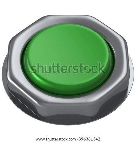 Button green push down activate power switch start turn on off action ignition electric design element metallic shiny blank. 3d render isolated - stock photo