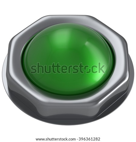 Button green start turn on off action push down activate ignition negative power switch design element metallic shiny blank. 3d render isolated - stock photo