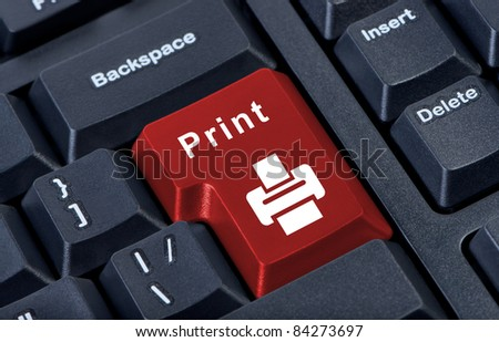Button keypad print with printer icon. - stock photo