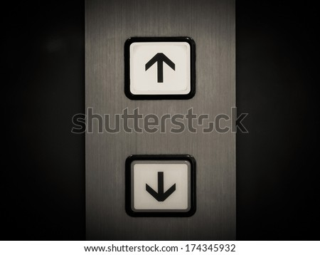 button of elevator - stock photo