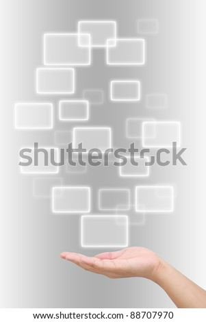 button on a man hand - stock photo