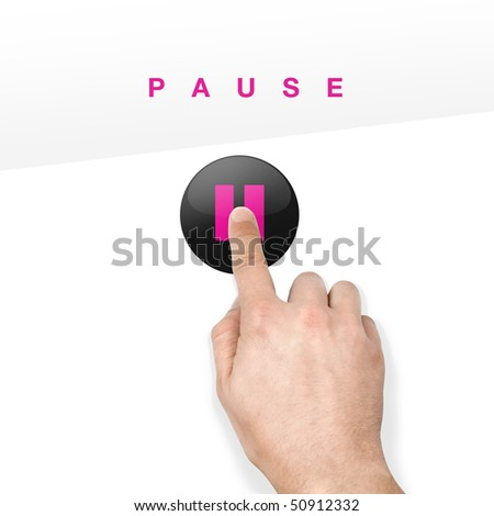 button on glossy touchscreen pressed with finger - stock photo