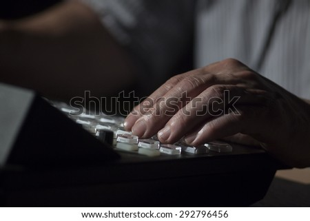 button on the control panel television equipment.  switching of television image and signal transmission - stock photo