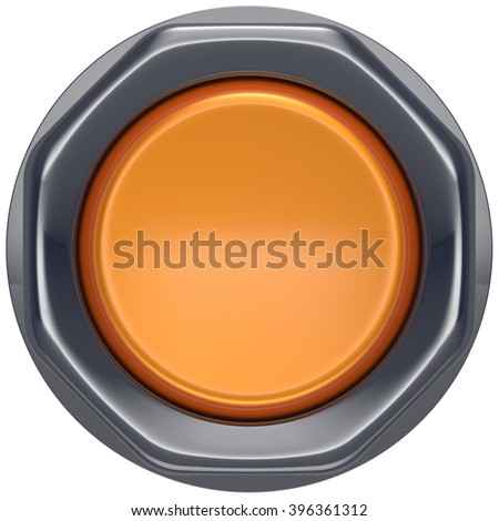 Button orange push down activate ignition power switch start turn off on action electric design element metallic shiny blank yellow. 3d render isolated - stock photo
