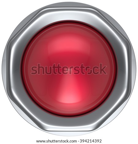 Button red military game panic start turn off on action push down activate ignition power switch electric design element metallic shiny blank led lamp. 3d render isolated - stock photo