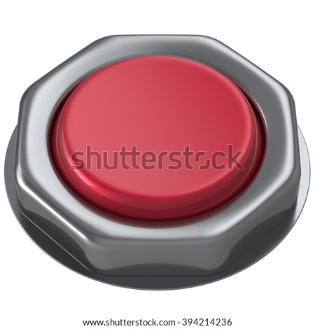 Button red push down activate power switch start turn on off action ignition electric design element metallic shiny blank. 3d render isolated - stock photo
