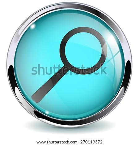 Button Search. Glass Round web media icon with metallic frame.Isolated on white background. Raster version - stock photo