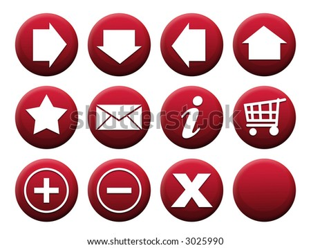 Button Set Red - stock photo