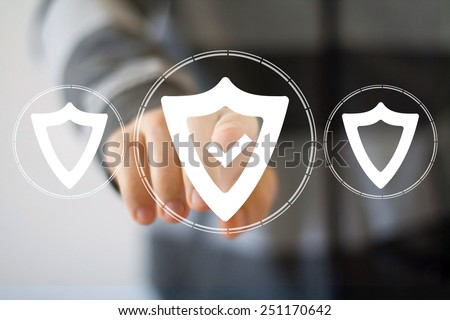 Button shield security virus icon business web icon - stock photo