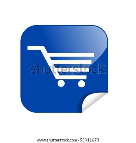 button shopping card - stock photo
