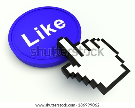 Button sign 'Like' in blue with hand shaped cursor. 3d render illustration.