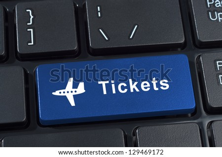 Button tickets with plane icon. Internet concept of buying and selling flights. - stock photo