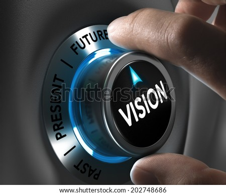 Button vision pointing the future with blur effect plus blue and grey tones. Conceptual image for illustration of company or business anticipation or strategy. - stock photo
