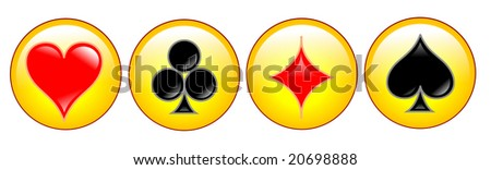 button with cards symbols - stock photo