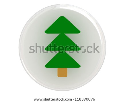 Button with christmas tree - stock photo