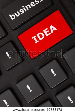 Button with idea text and wow symbols on the modern keyboard. Idea concept