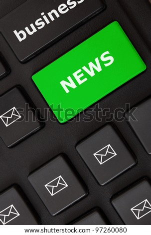 Button with news text and letter symbols on the modern keyboard. News concept - stock photo