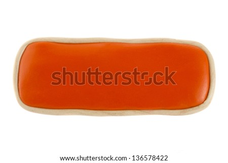 Button with no text of plasticine on a white background - stock photo