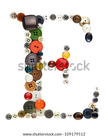 Buttons alphabet: letter E, isolated on white with clipping paths - stock photo