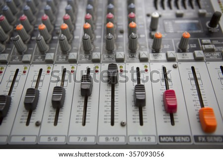 Buttons equipment for sound mixer control. Music Studio - stock photo