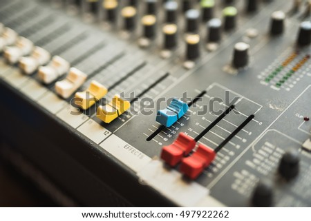 buttons equipment in audio Mixing Console