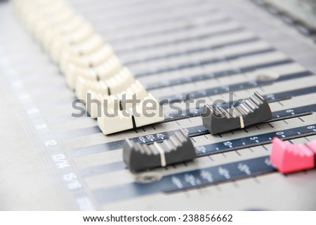 buttons equipment in audio recording studio