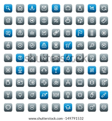 Buttons for computer, business, shopping, science, media, leisure, gambling and danger. Icons for websites and interface elements. Raster version. - stock photo