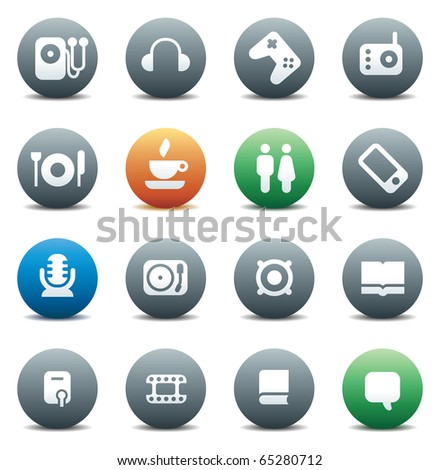 Buttons for music and leisure. Icons for websites and interface elements. Raster version. For vector version of this image, see my portfolio. - stock photo