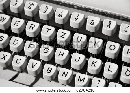 Buttons of an old mechanical typewriter, close-up. - stock photo