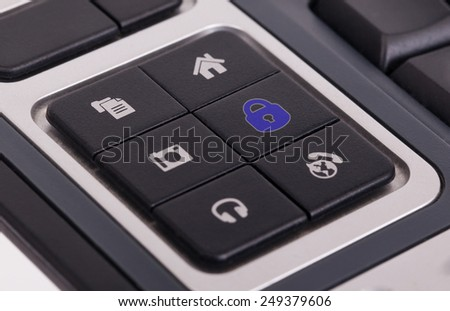 Buttons on a keyboard, selective focus on the middle right button - Lock - stock photo