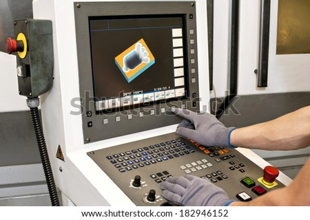 Buttons on computer numerical control programmable machine. Milling industry. - stock photo