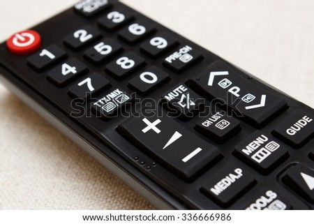 Buttons on infrared remote control for television