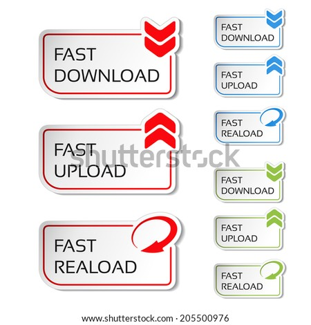 buttons with arrow - fast download, reload, upload