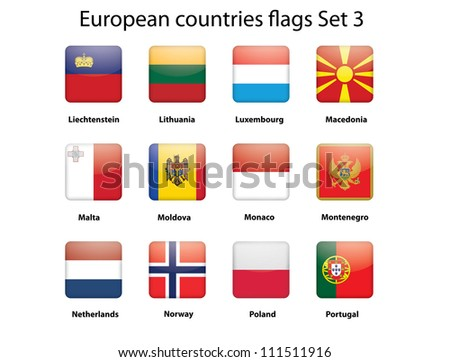 buttons with European countries flags set 3 - stock photo