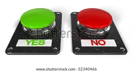 Buttons with Yes and No - business concept - stock photo