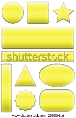 buttons yellow for web site or illustrations of various shapes on a white background