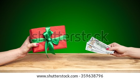 buy a gift on a green background